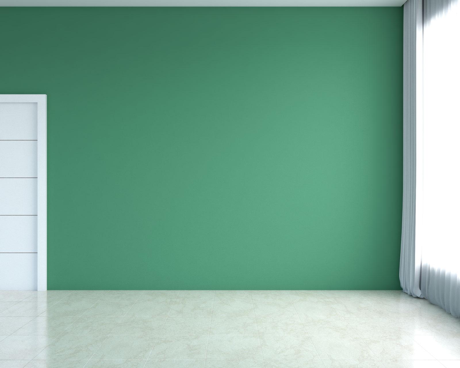 Cream tile flooring with green walls