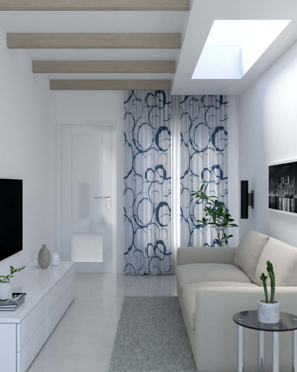 White and blue abstract circular curtains