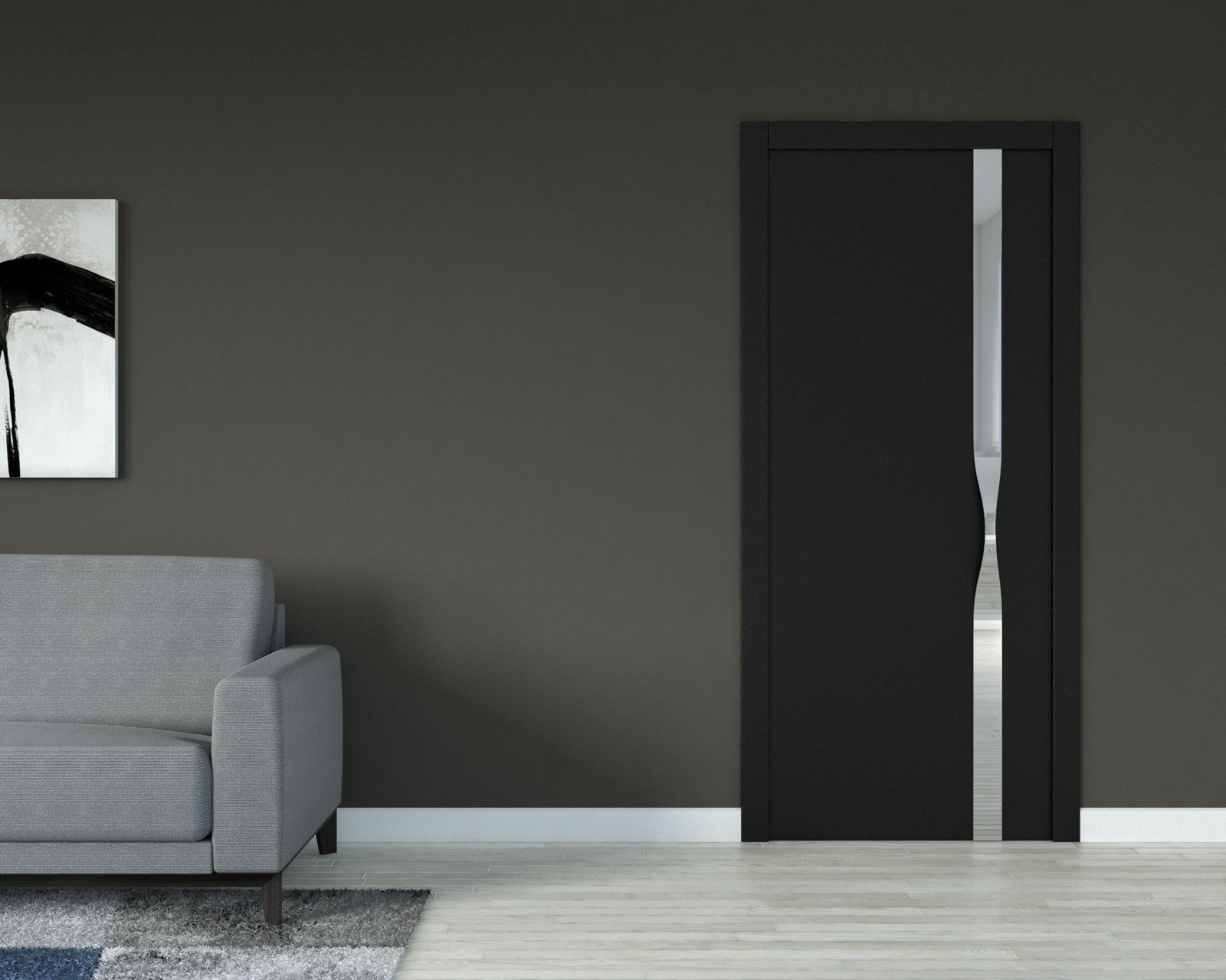Urbane bronze wall with black interior doors