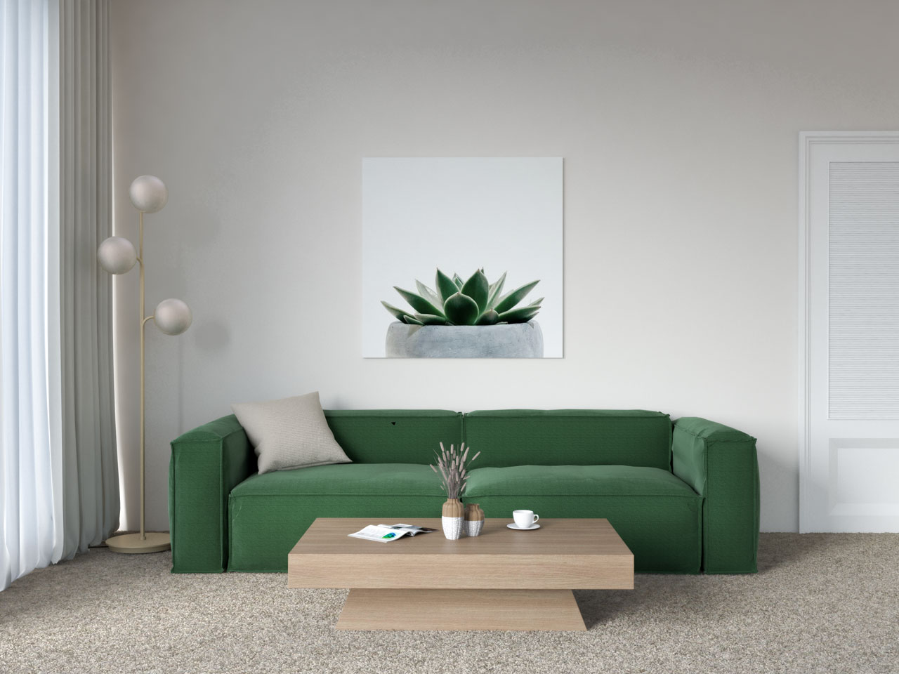 Dark green couch with tan carpet in living room