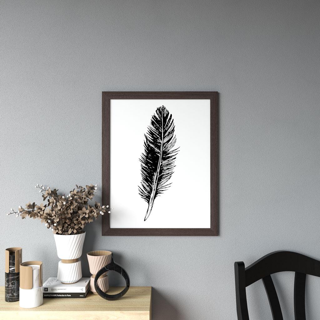 Dark wood frame on gray wall