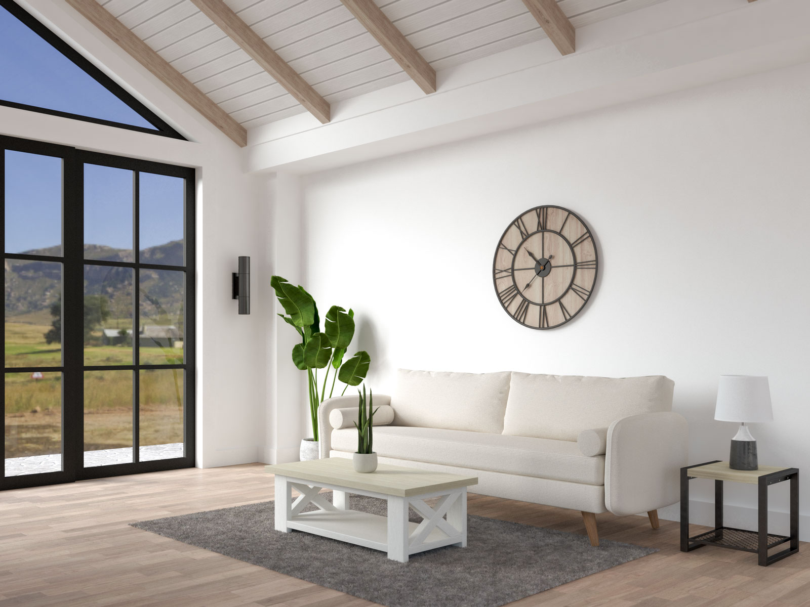Living room with farmhouse decor and white walls