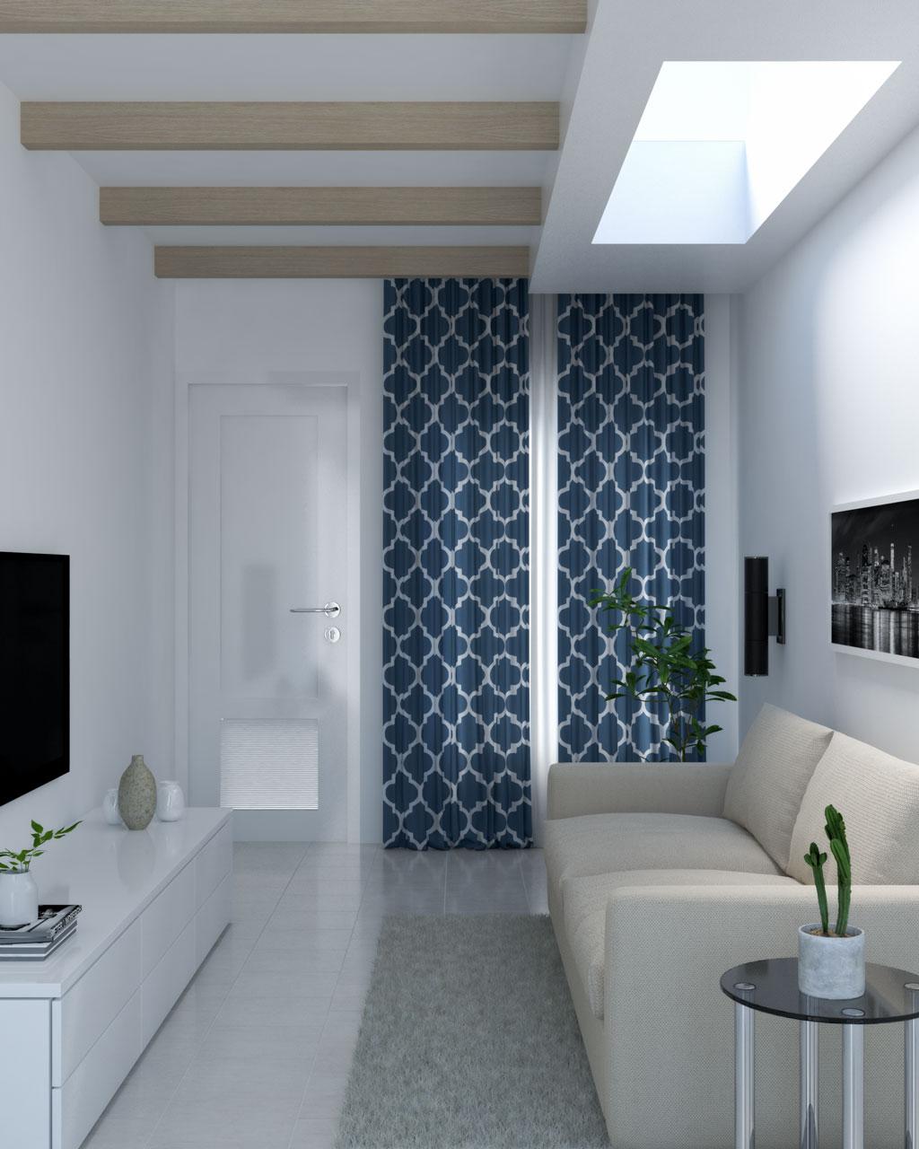 Blue geometric trellis curtains
