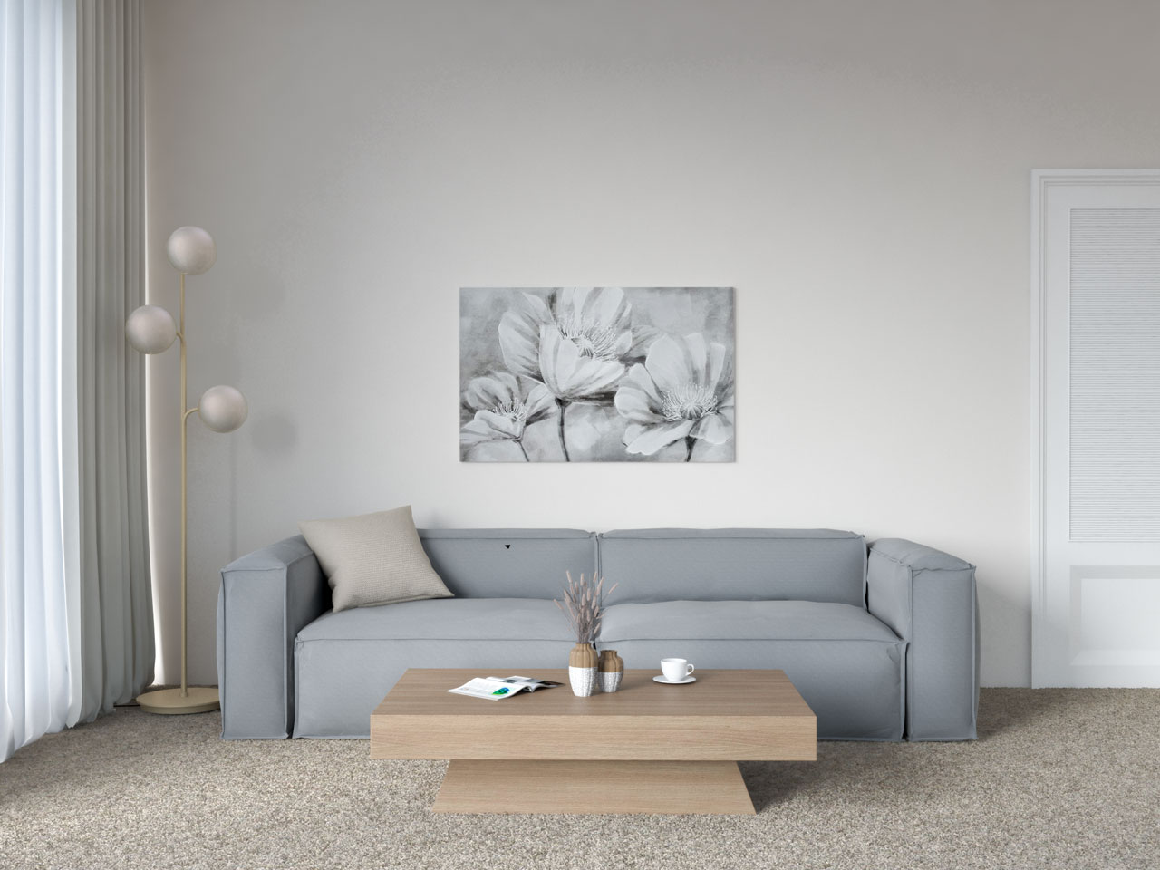 Gray couch and tan carpet ideas