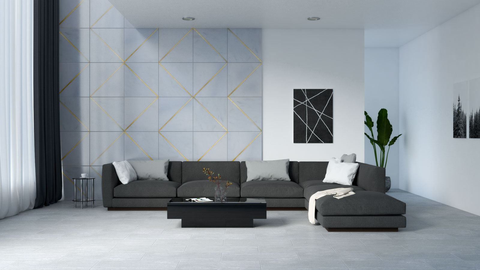 Living room with black furniture and gray flooring