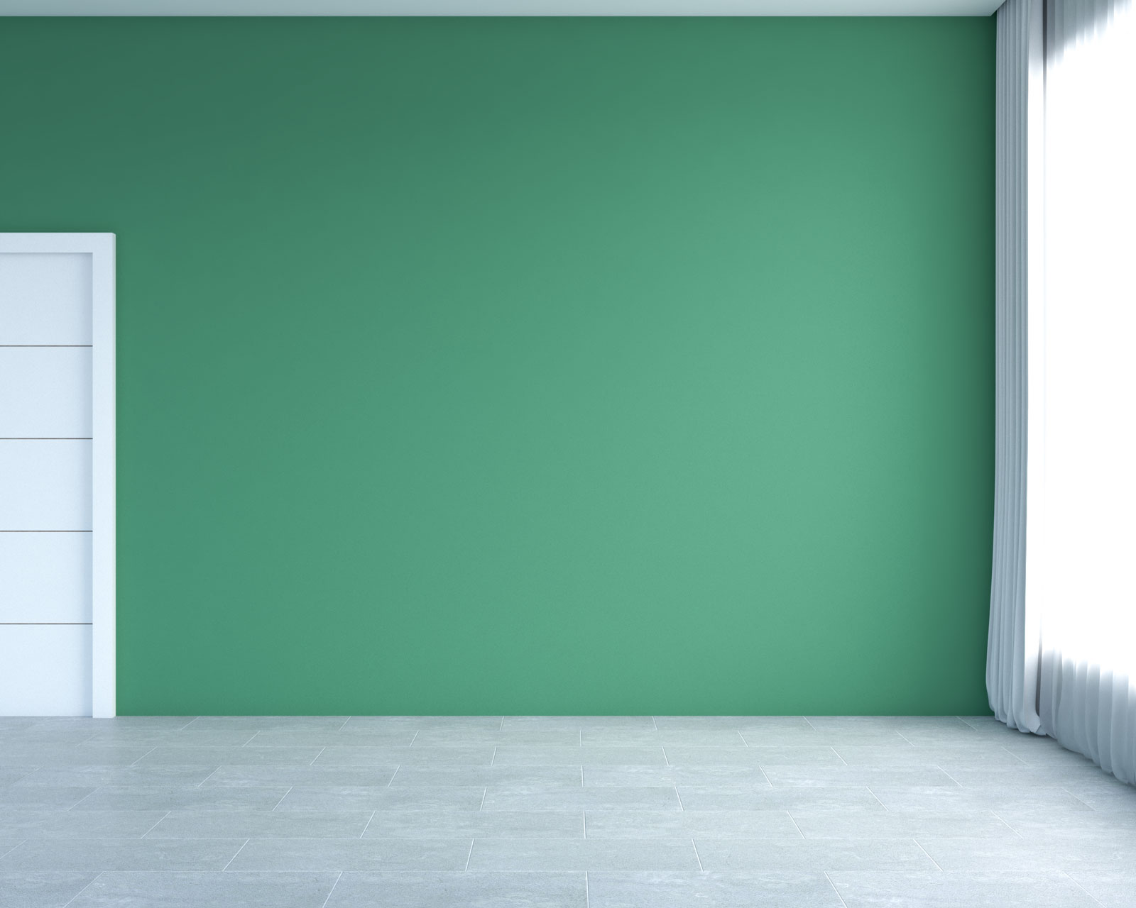 Gray stone tile flooring with green walls