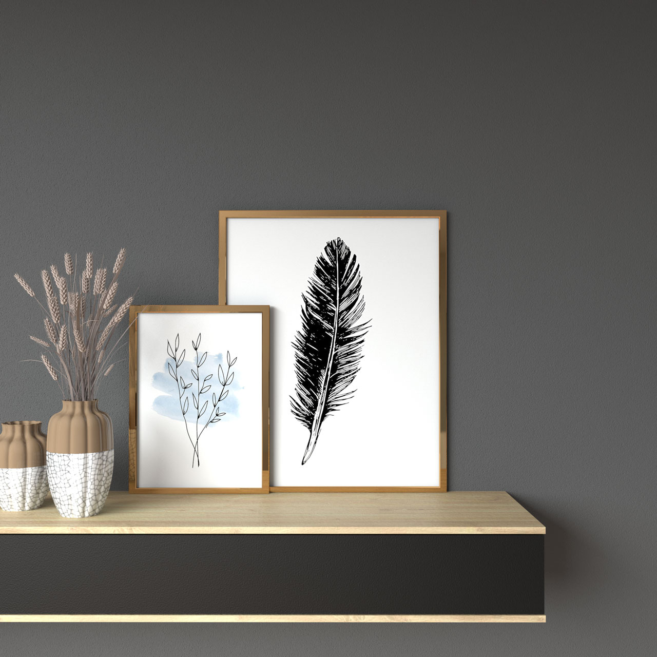 Gray wall with gold picture frames
