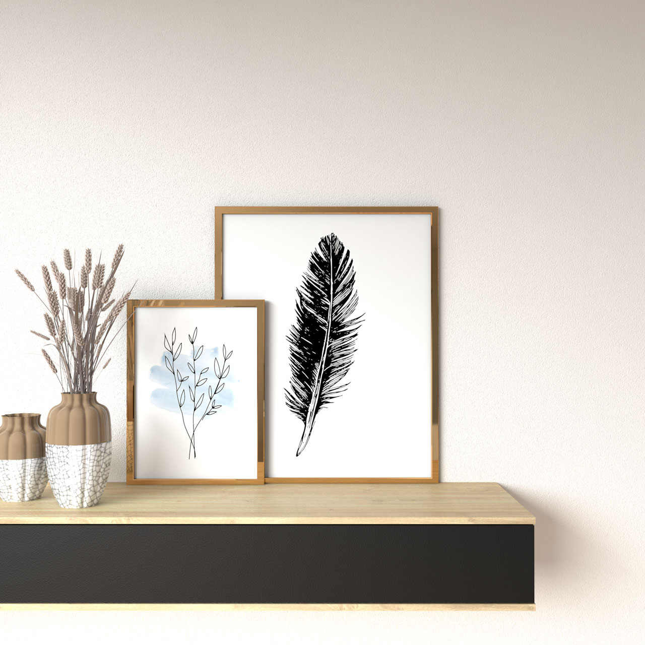 Ivory wall with gold frames