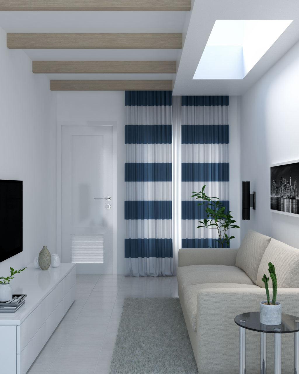 Blue and white curtains with large horizontal pattern