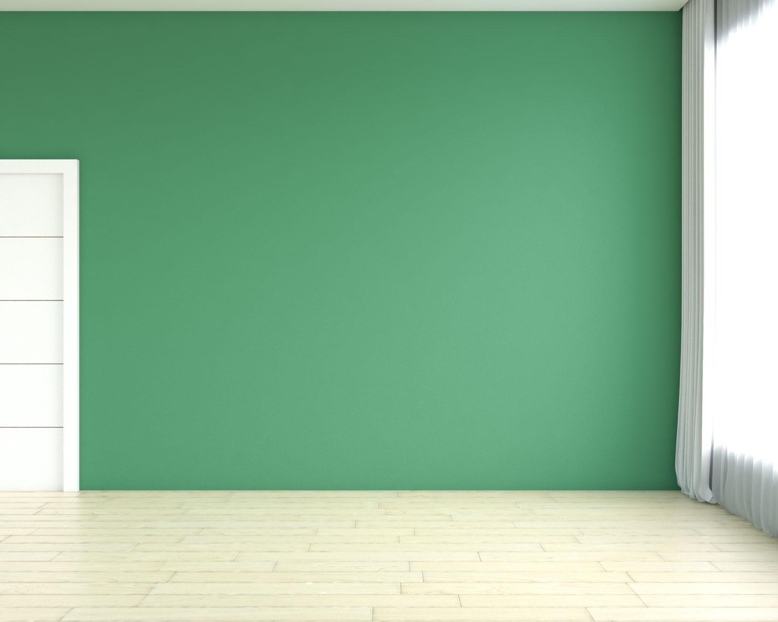 Bamboo flooring with green walls