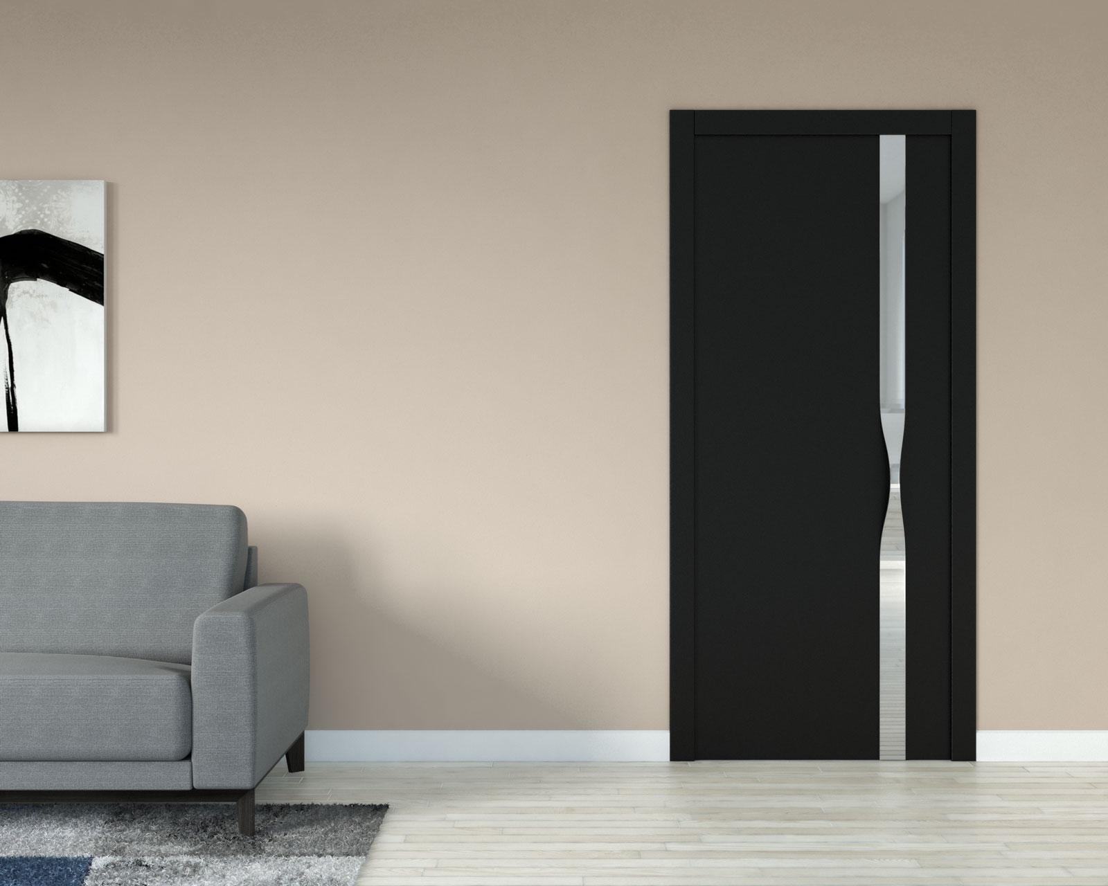 Brown wall with black door