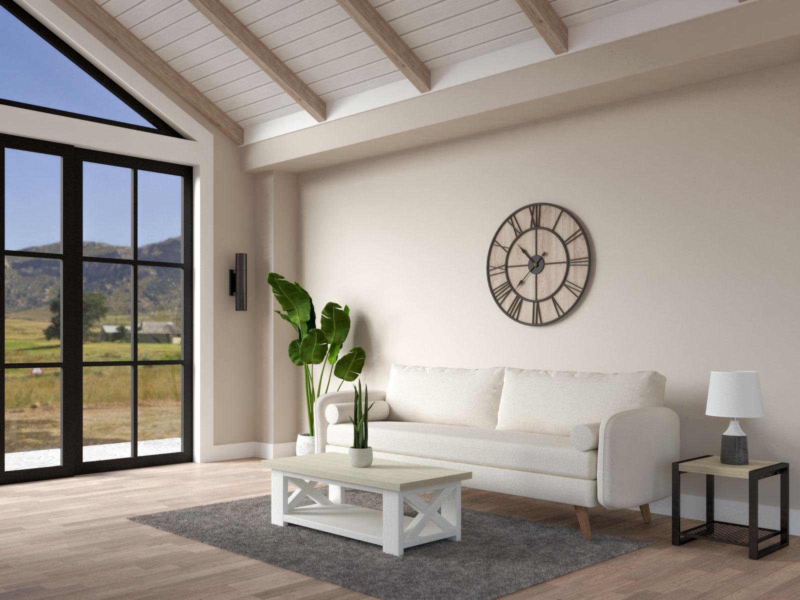 Wheat brown walls in modern farmhouse interior