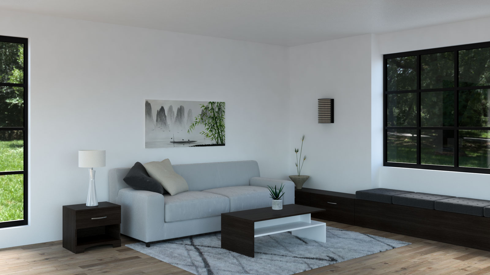 Light gray couch with espresso furniture