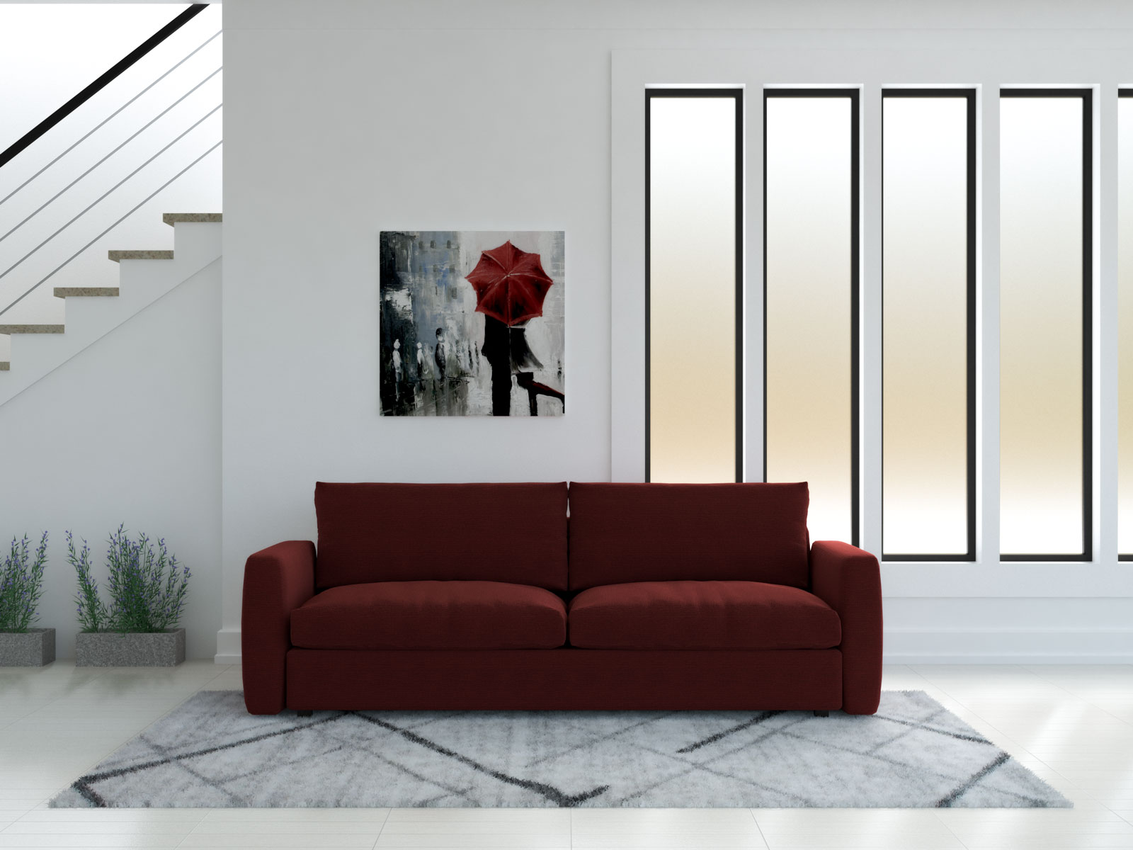 Red couch and light gray rug