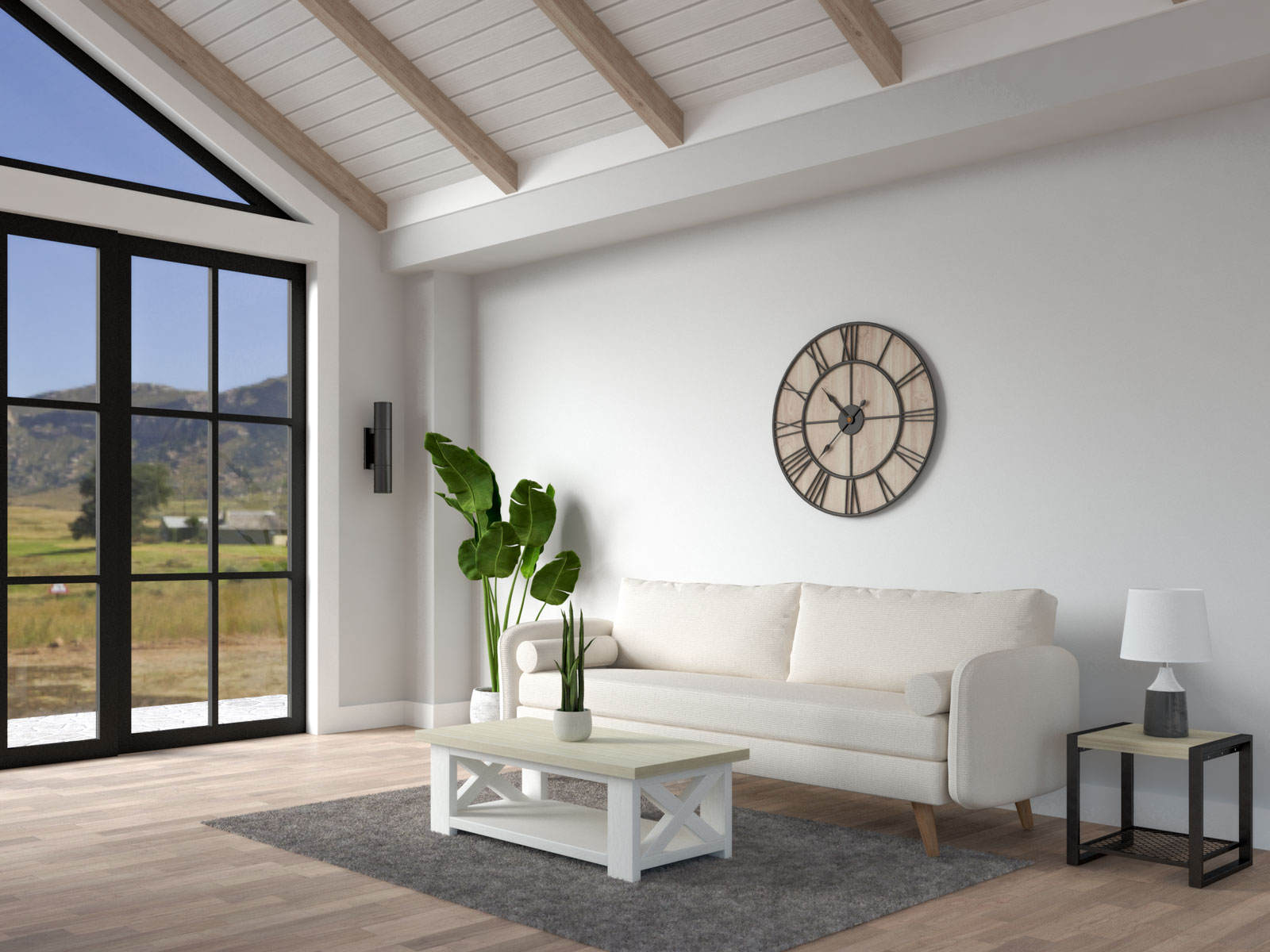 Light gray living room with farmhouse decor