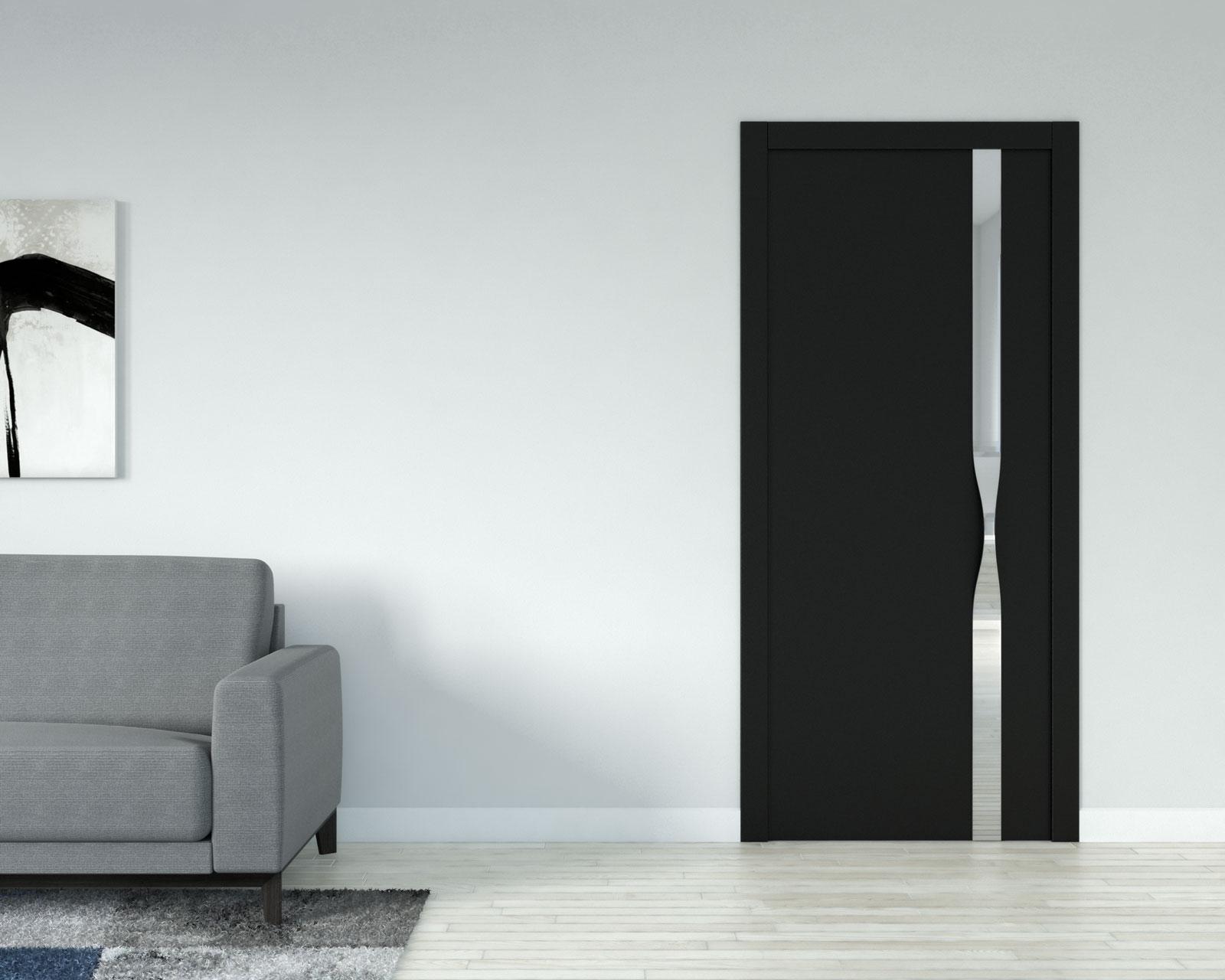 Light gray wall with black door