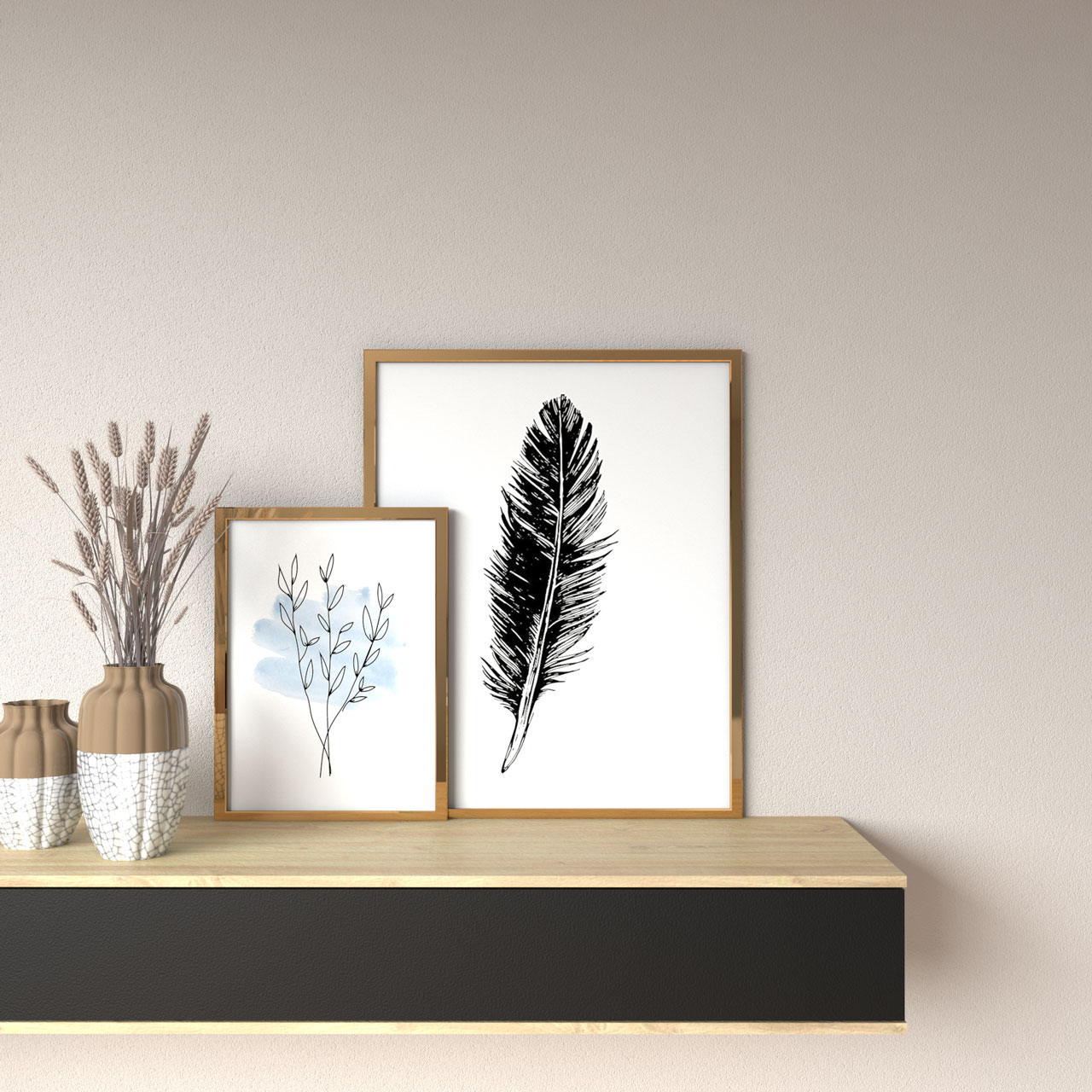 Light taupe wall with gold picture frame