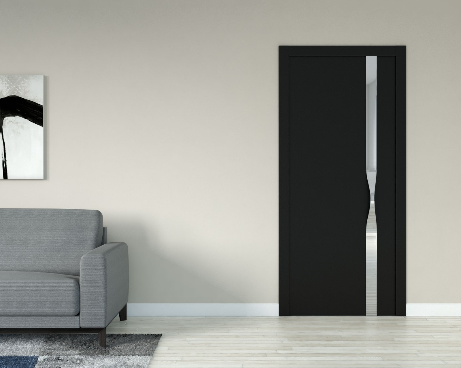 Light taupe wall with black interior door