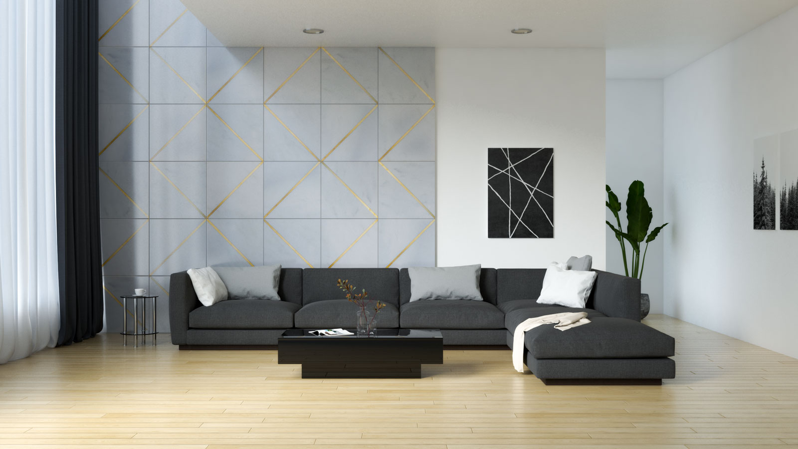 Living room with black furnishings and light natural wood floors