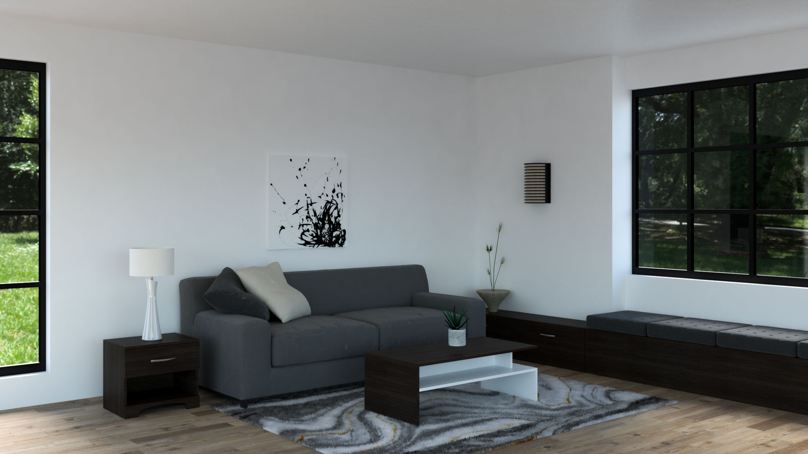 Dark gray couch with espresso furnishings