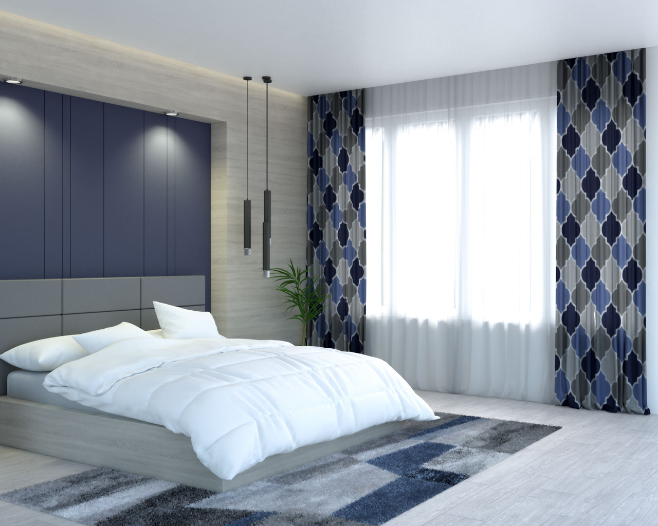 Blue and gray lattice pattern curtains