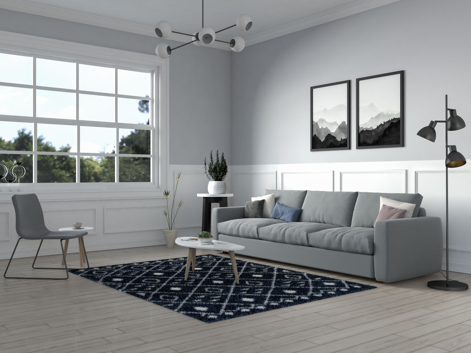 Blue nordic thick shag area rug by well woven