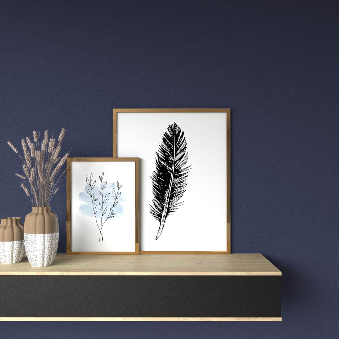 Navy blue wall with gold picture frame