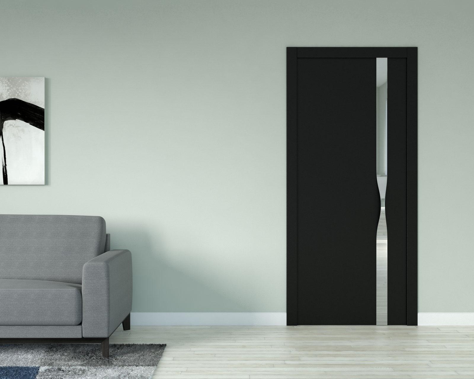 Pale green (sea salt green) wall with black door