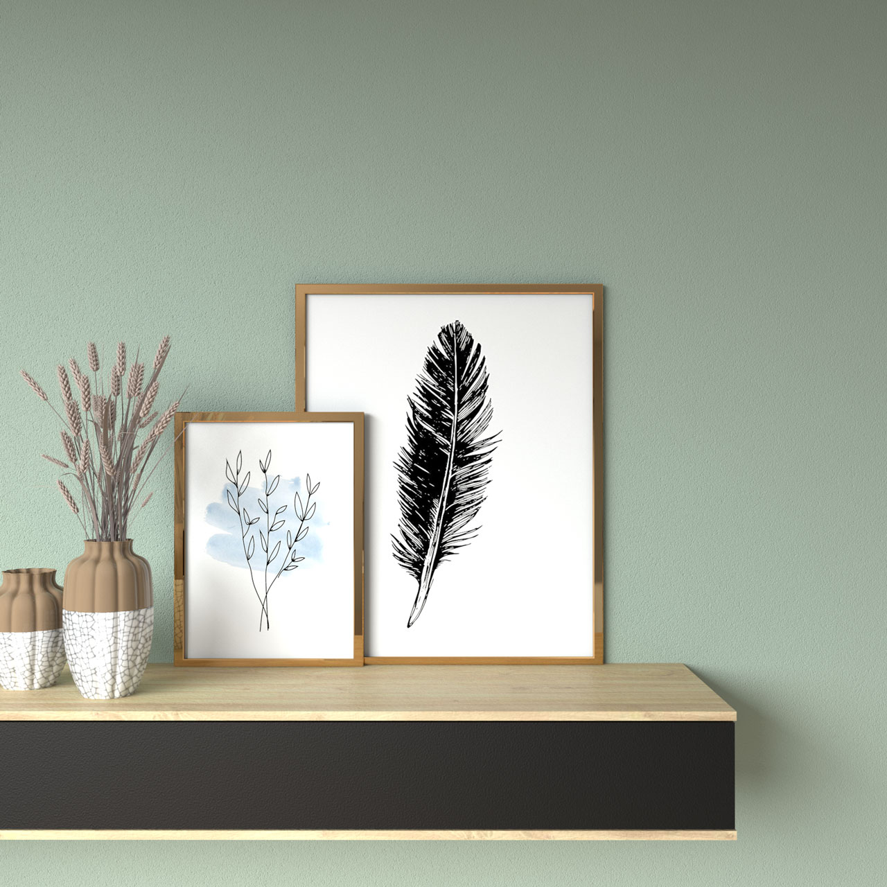 Pale green wall with gold framed artworks