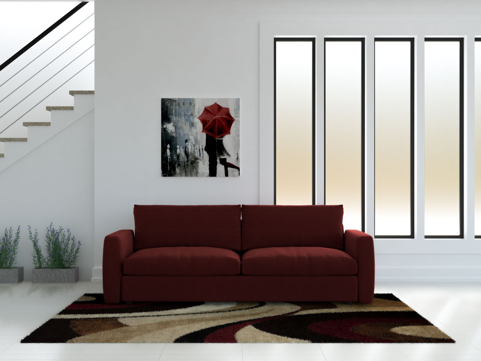 Red couch with brown and red area rug