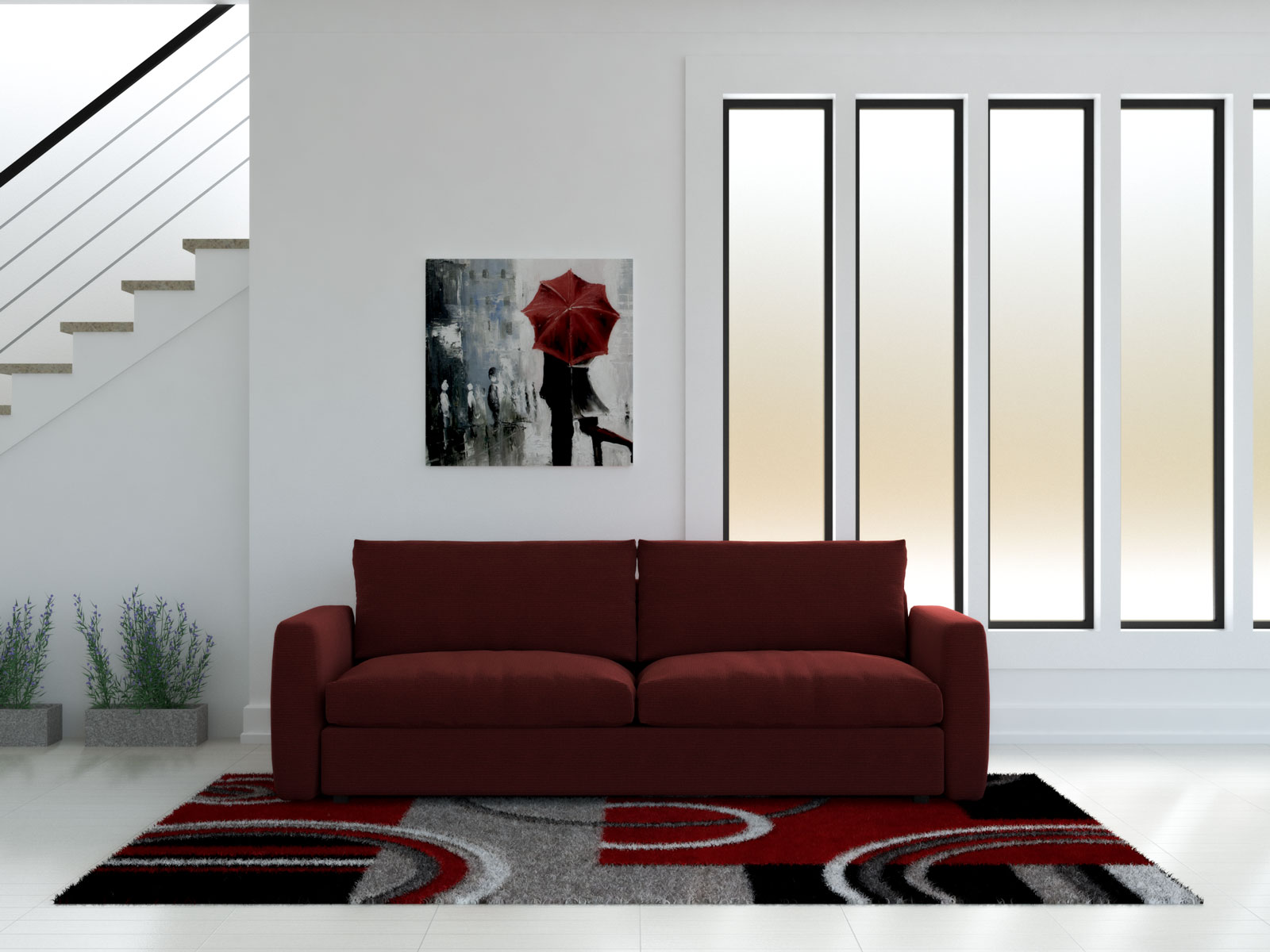 Red couch with red and gray rug