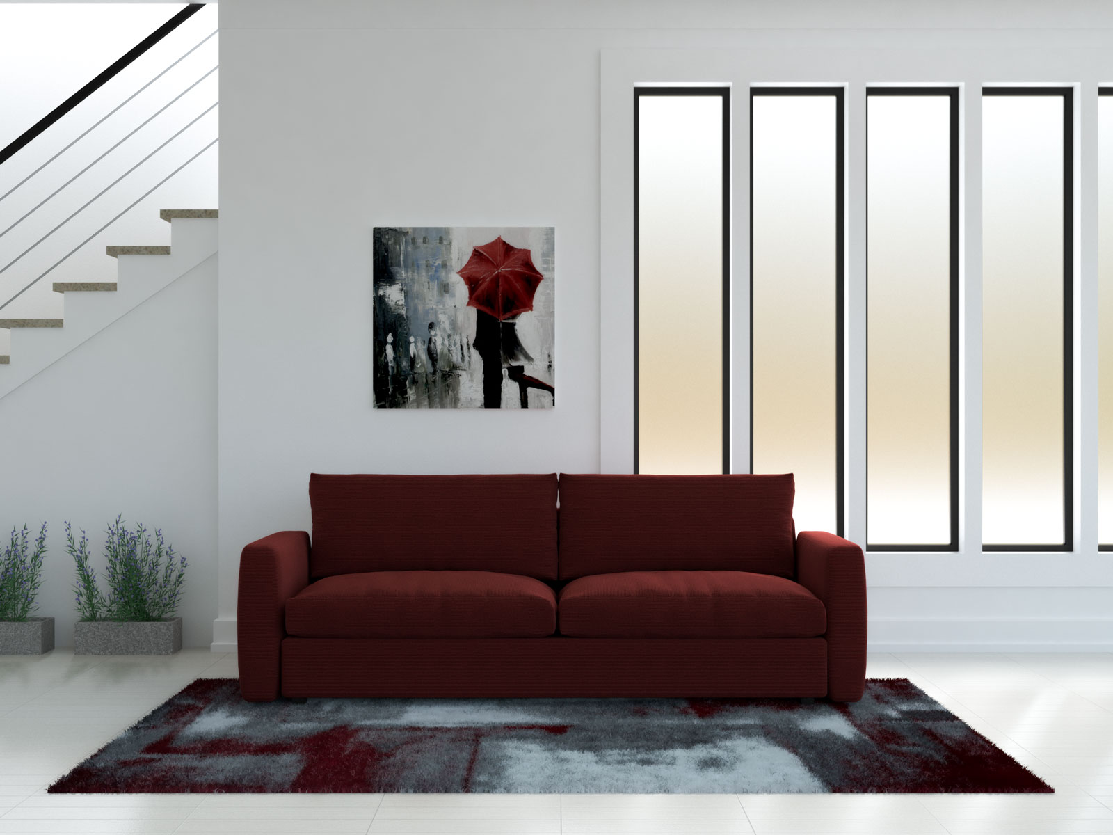 Red couch with red and white rug