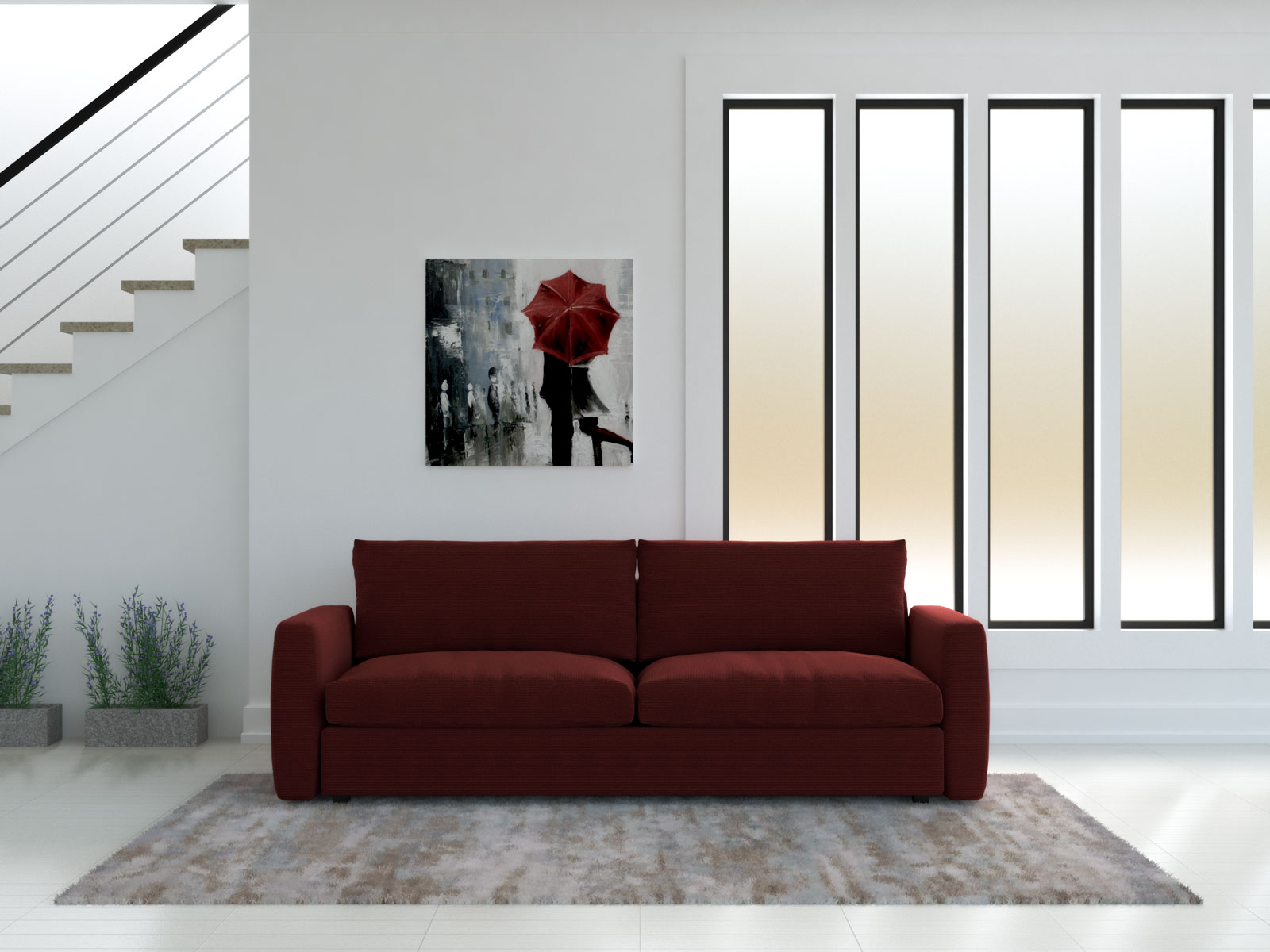 Living room with red couch and beige rug