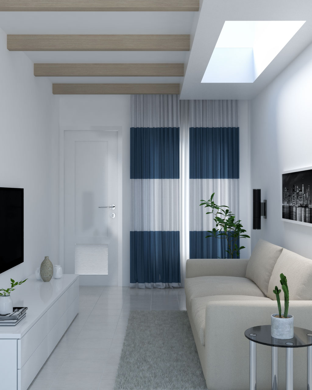Blue and white two-tone simple curtains