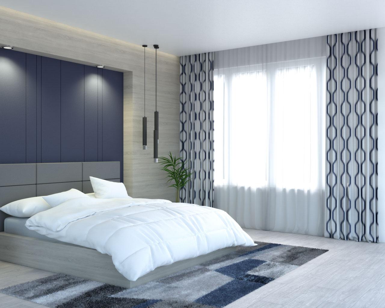 White and blue ikat geometric print curtains