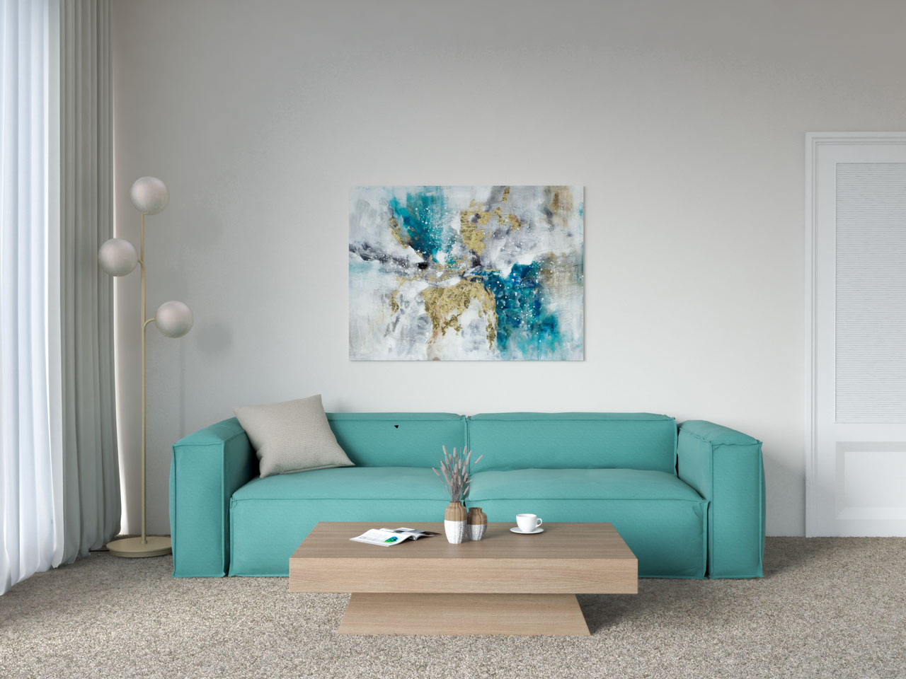 Living room with teal couch and tan floor-to-floor carpet
