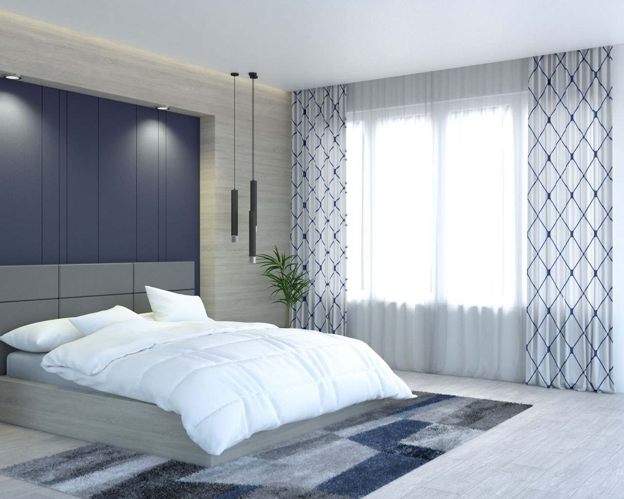 Modern white and navy blue embroidered diamond curtains by top finel store