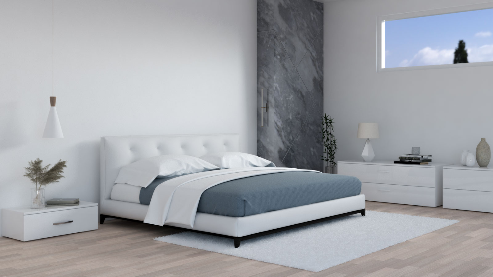 White and dusty blue bedding in white bedroom