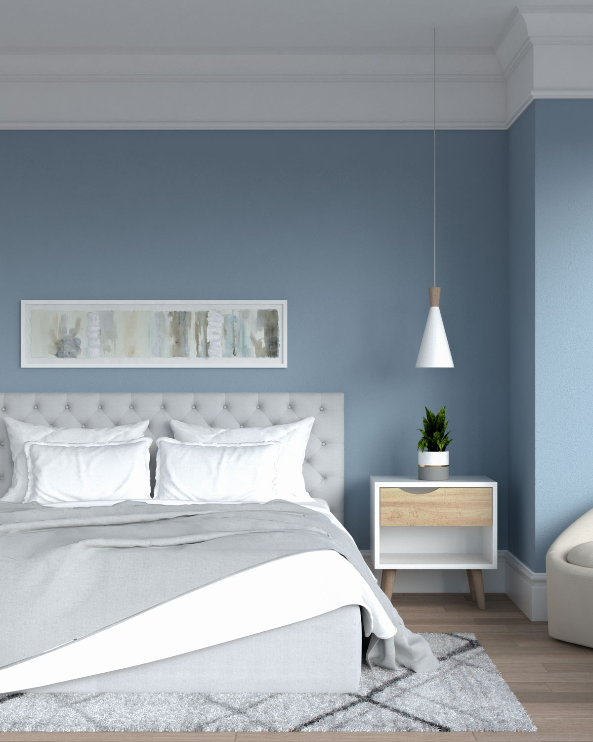 White and gray bedding in blue bedroom