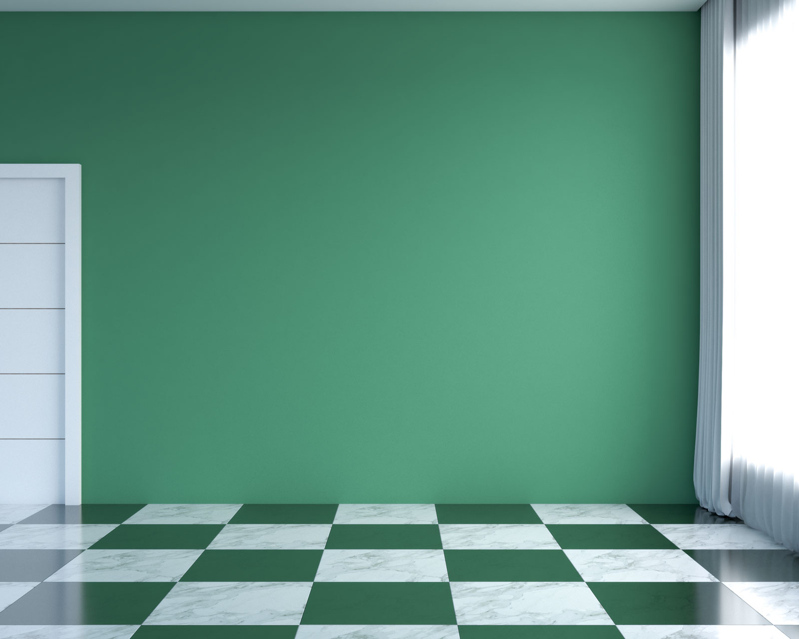 White and green flooring with green walls