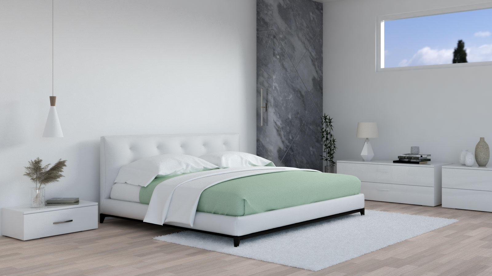 White bedroom with sage accent