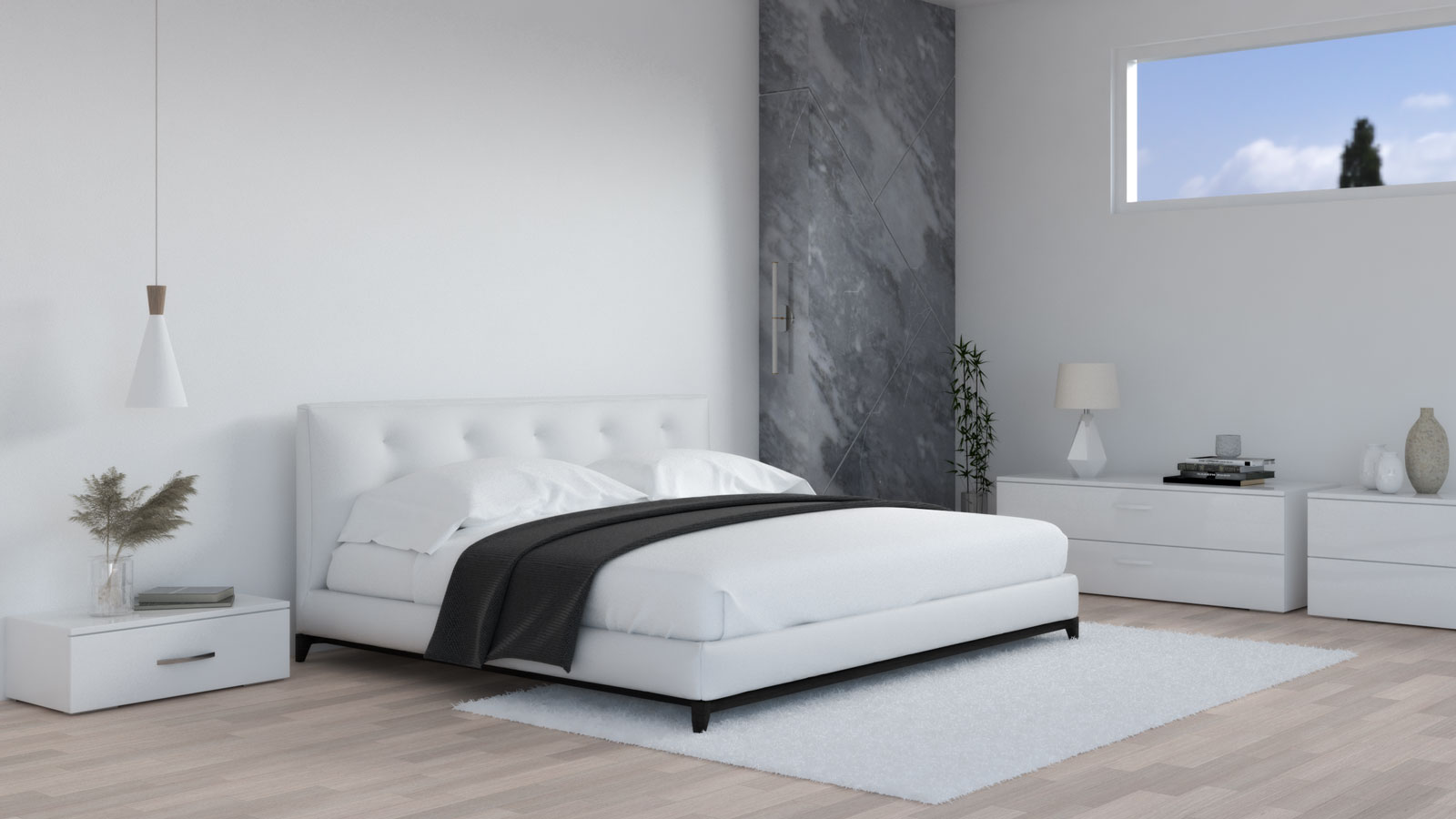 White and black bedding in white bedroom