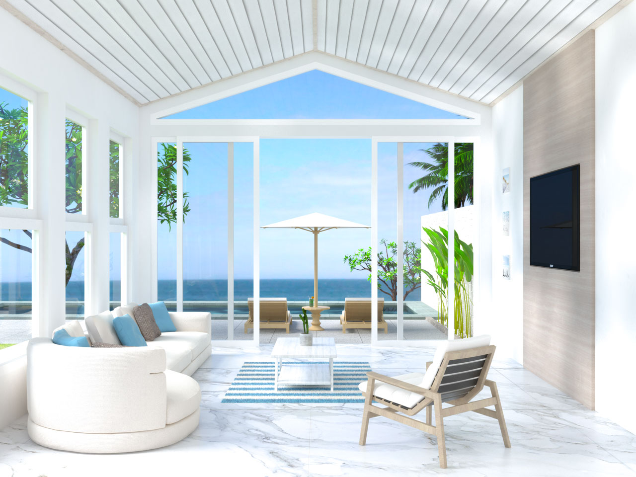 Beach house living room with white marble flooring