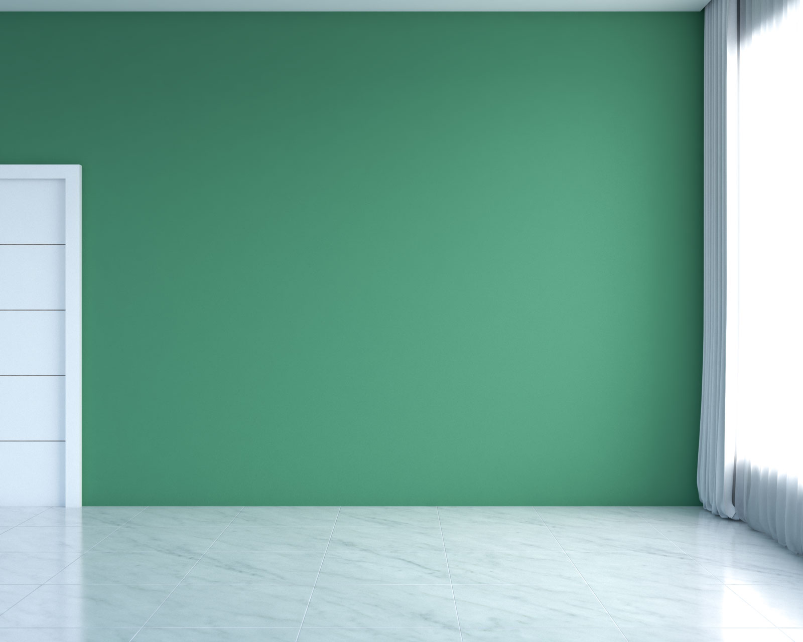 White flooring with green walls