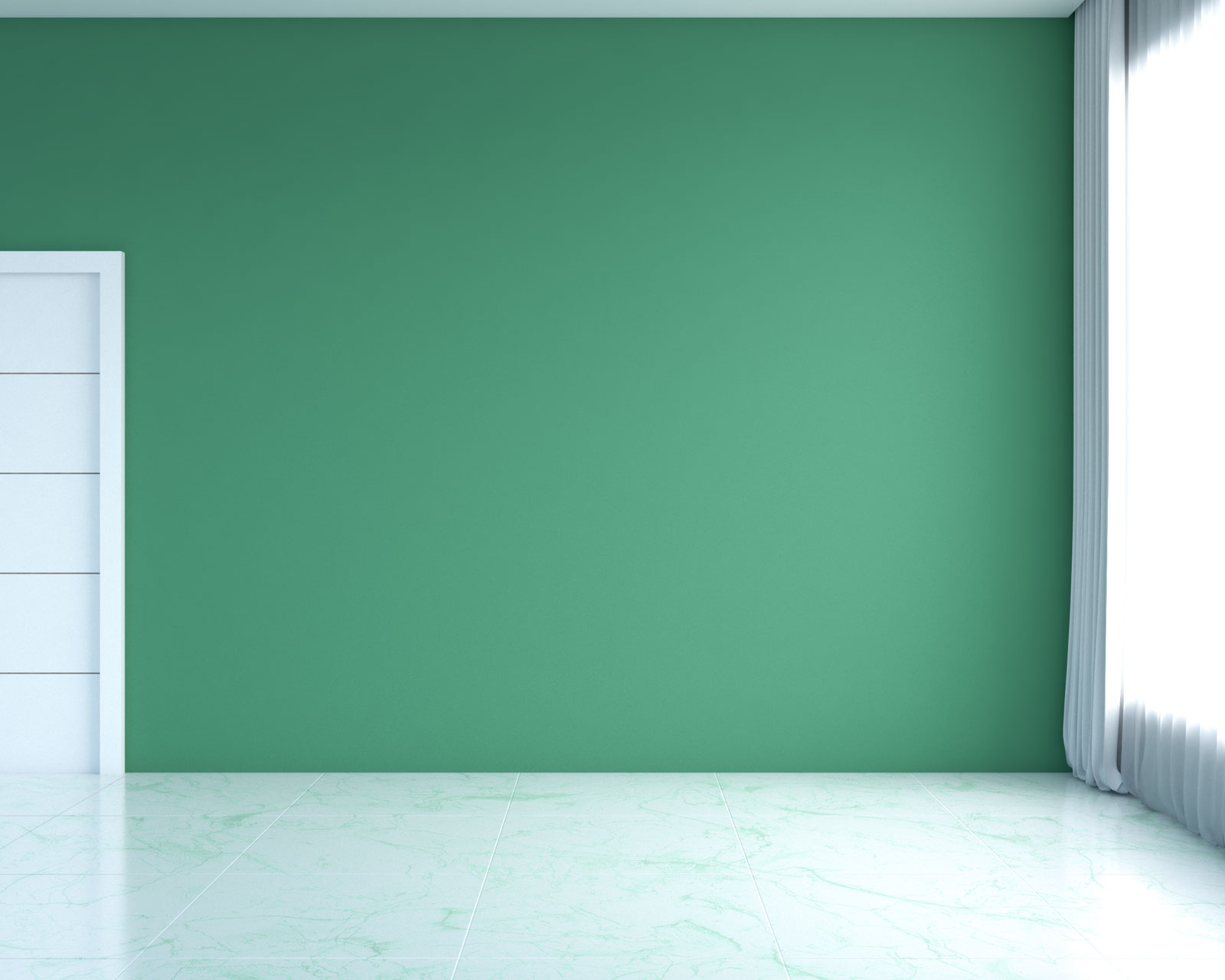 White marble with green vein flooring with green walls