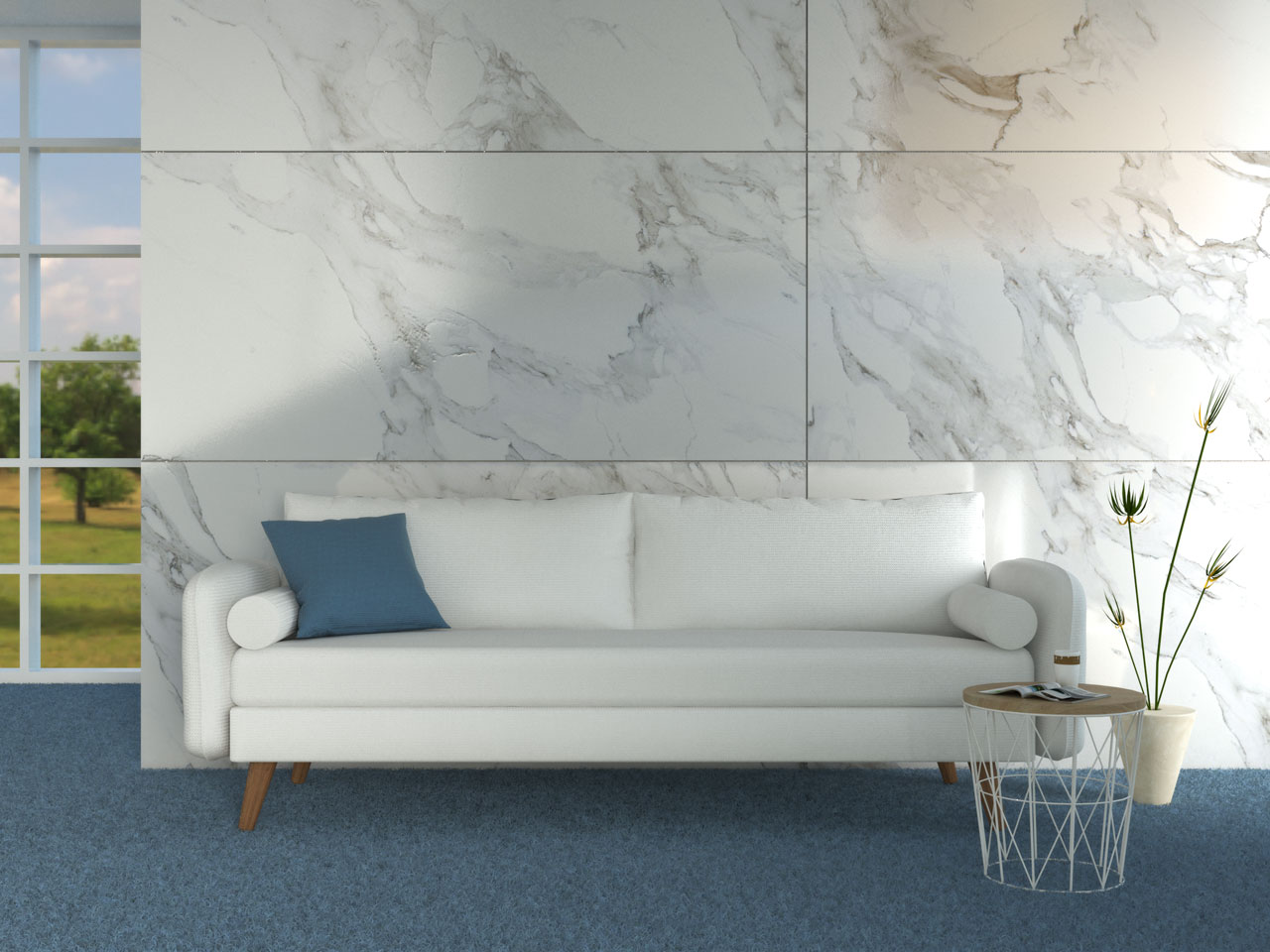 White couch with blue carpet