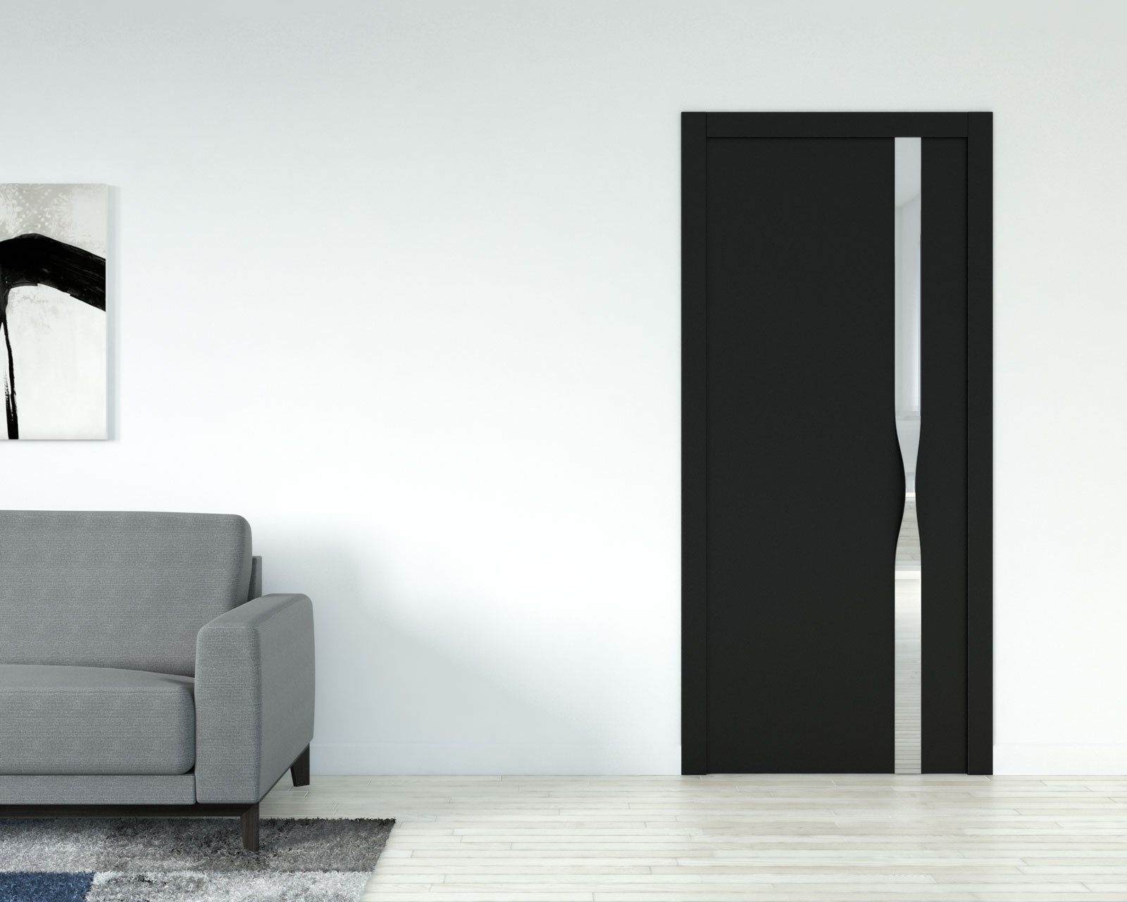 White wall with black door