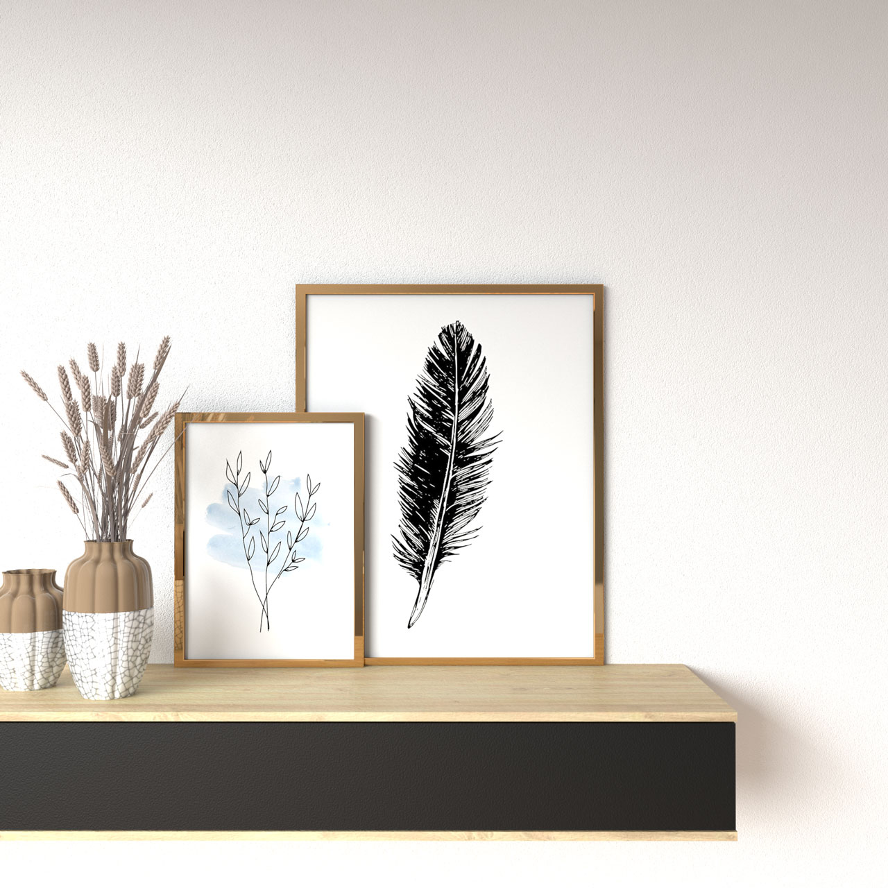 Plain white wall with gold picture frames