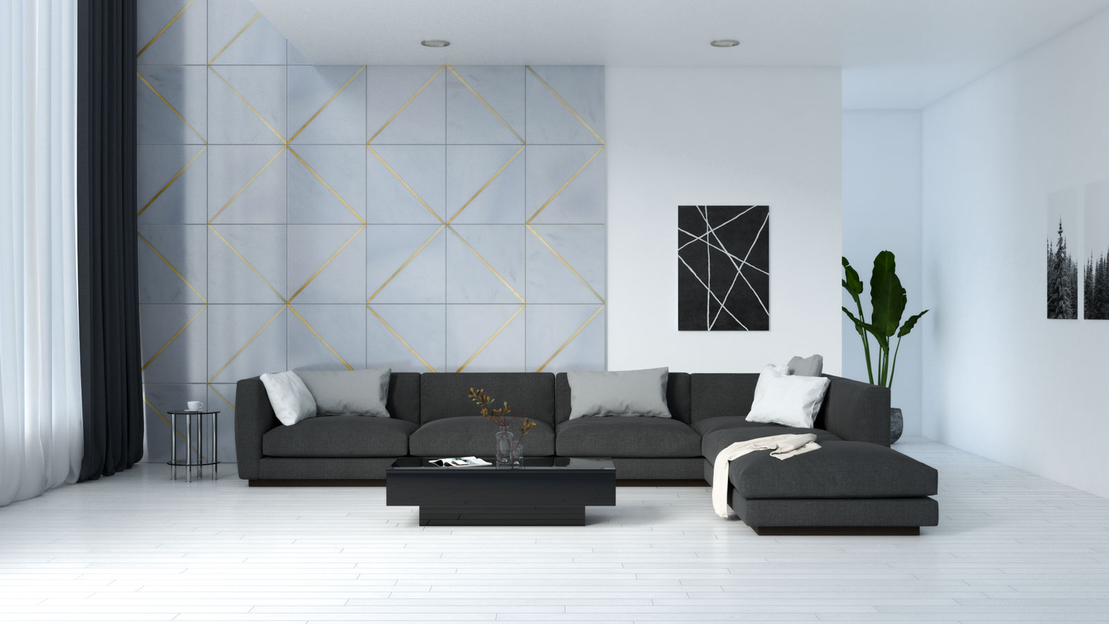 Black furniture in living room with white wooden flooring