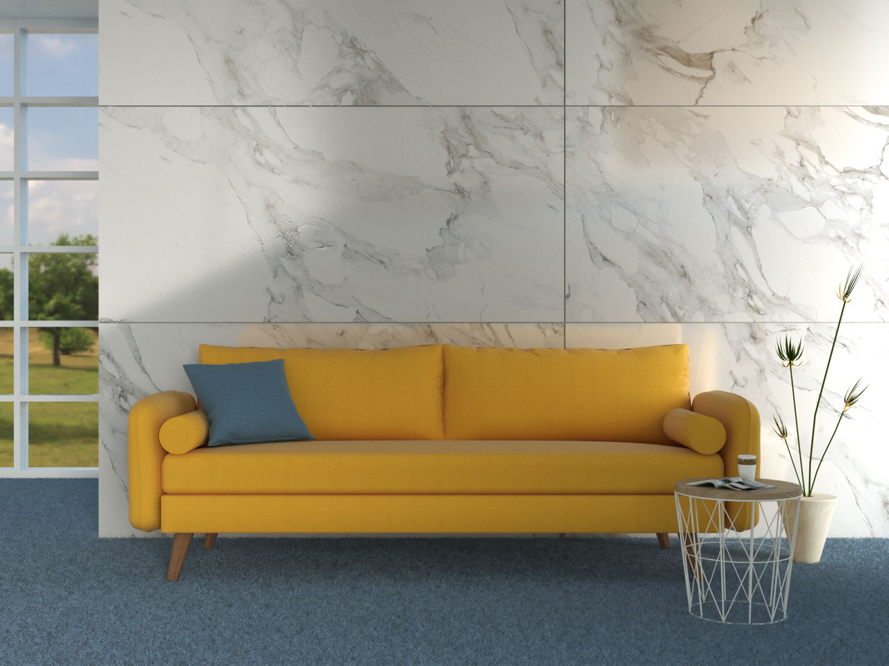 Yellow couch in living room with blue carpet